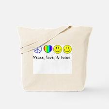 Peace, Love, & Twins Tote Bag
