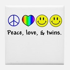 Peace, Love, & Twins Tile Coaster