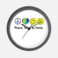 Peace, Love, & Twins Wall Clock