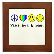 Peace, Love, & Twins Framed Tile