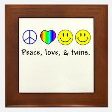 Peace, Love, & Twins Framed Tile