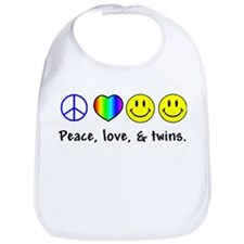 Peace, Love, & Twins Bib
