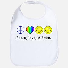 Peace, Love, & Twins Bib