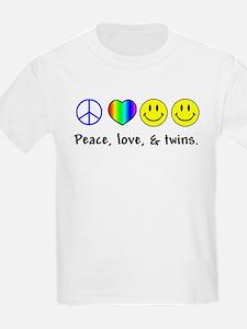 Peace, Love, & Twins Kids T-Shirt