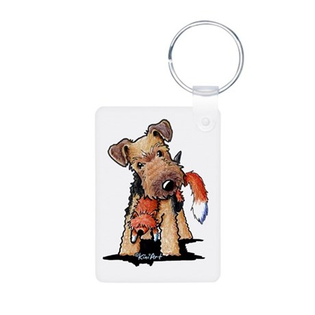 Welsh Terrier With Fox Aluminum Photo Keychain