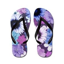 Pink Blue and Purple Flower Background Flip Flops
