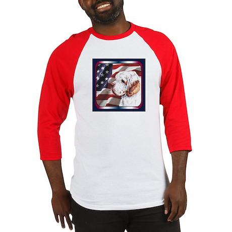 Clumber Spaniel US Flag Baseball Jersey