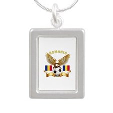 Romania Football Design Silver Portrait Necklace