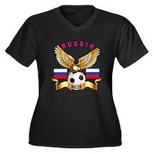 Russia Football Design Women's Plus Size V-Neck Da