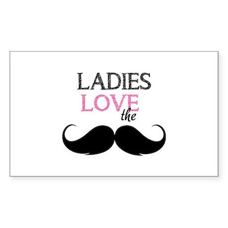 Ladies love the stache Sticker (Rectangle)
