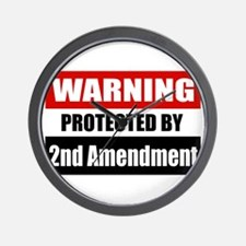 Warning Protected By The 2nd Amendment Wall Clock