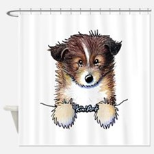 Pocket Sheltie Shower Curtain