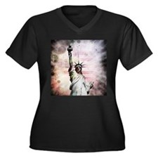 Statue of Liberty Women's Plus Size V-Neck Dark T-