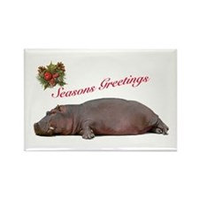 Season's Greetings Hippo Fun Rectangle Magnet