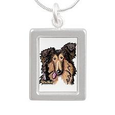 Shetland Sheepdog Silver Portrait Necklace