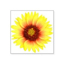 "Yellow Daisy Square Sticker 3"" x 3"""