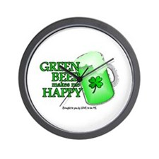 GREEN BEER MAKES ME HAPPY Wall Clock