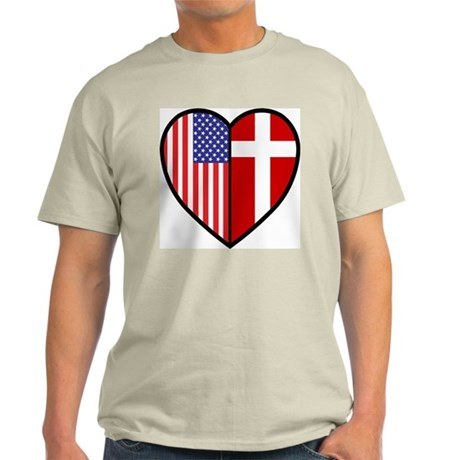 Danish-American Flag Heart Tee (Grey)