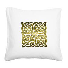 Celtic Knot Maze Gold Square Canvas Pillow