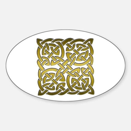 Celtic Knot Maze Gold Sticker (Oval)