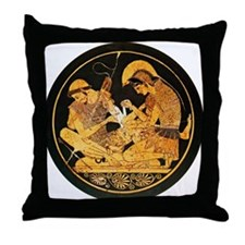 Achilles binding Patroclus' wound - Throw Pillow