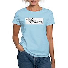 Tribal Dolphin Tattoo Women's Pink T-Shirt