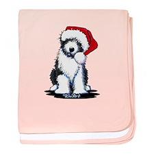 Bearded Collie Santa baby blanket
