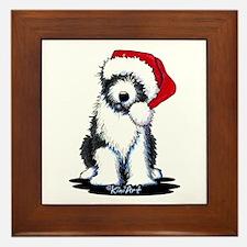 Bearded Collie Santa Framed Tile