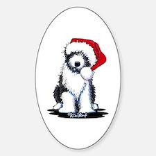 Bearded Collie Santa Sticker (Oval)