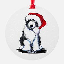 Bearded Collie Santa Ornament