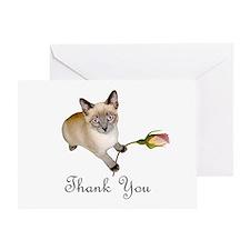 Kitten Rosebud Thank You Greeting Card
