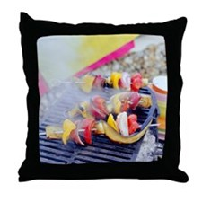 Barbecuing vegetables - Throw Pillow