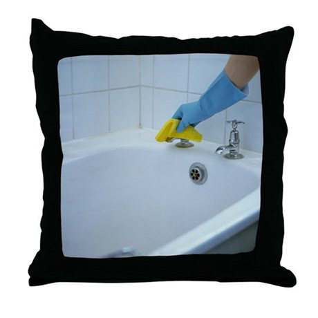 How To Wash Throw Pillows At Home : Bath tap cleaning - Throw Pillow by sciencephotos