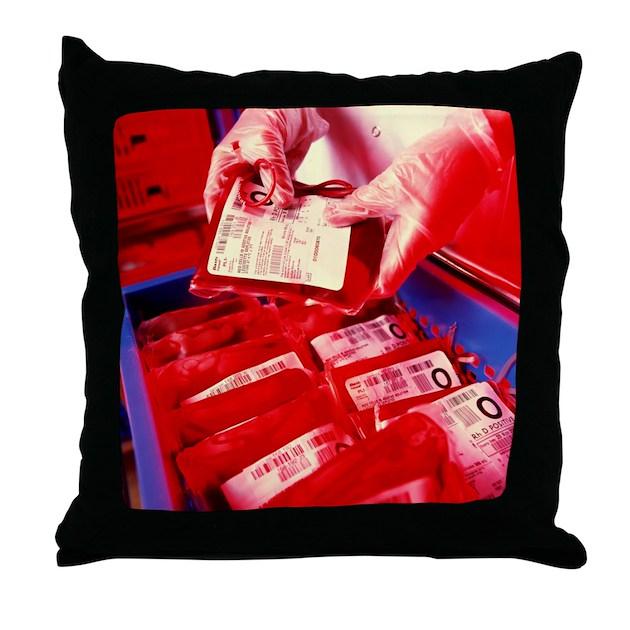 Blood Storage Throw Pillow By Sciencephotos