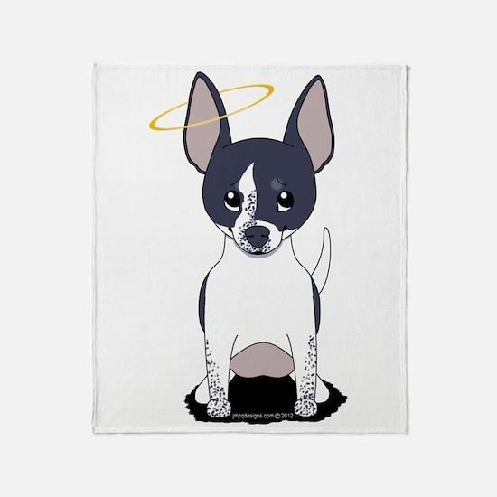Black White Chihuahua Angel Throw Blanket
