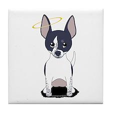 Black White Chihuahua Angel Tile Coaster