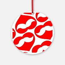 Mustache Valentine Heart Ornament (Round)