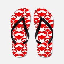 Mustache Valentine Heart Flip Flops