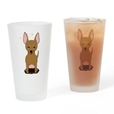 Brown Chihuahua Halo Drinking Glass