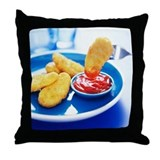 Chicken nugget Throw Pillows