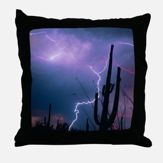 Lightning storm over Tucson, Arizona - Throw Pillo