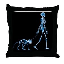 Skeleton walking a marmoset, X-ray - Throw Pillow