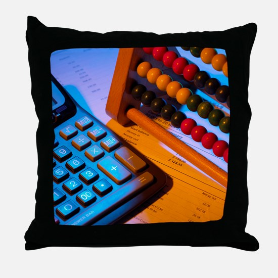 Abacus and calculator - Throw Pillow