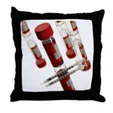 Blood samples and syringe - Throw Pillow