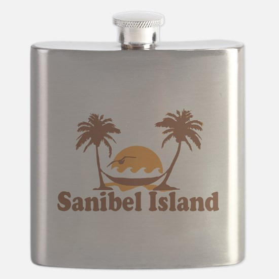 Sanibel Island - Palm Trees Design. Flask