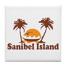 Sanibel Island - Palm Trees Design. Tile Coaster