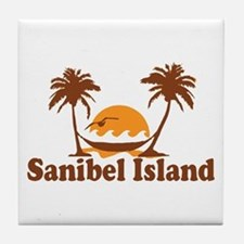 Sanibel Island - Palm Trees Design. Tile Coaster