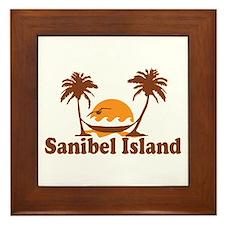 Sanibel Island - Palm Trees Design. Framed Tile