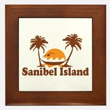 Sanibel Island - Palm Trees Design. Framed Tile