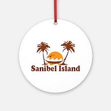 Sanibel Island - Palm Trees Design. Ornament (Roun